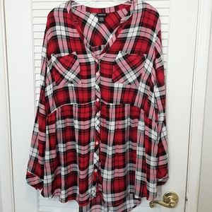 Torrid Plaid Challis Plaid Babydoll Top 22/24 3X